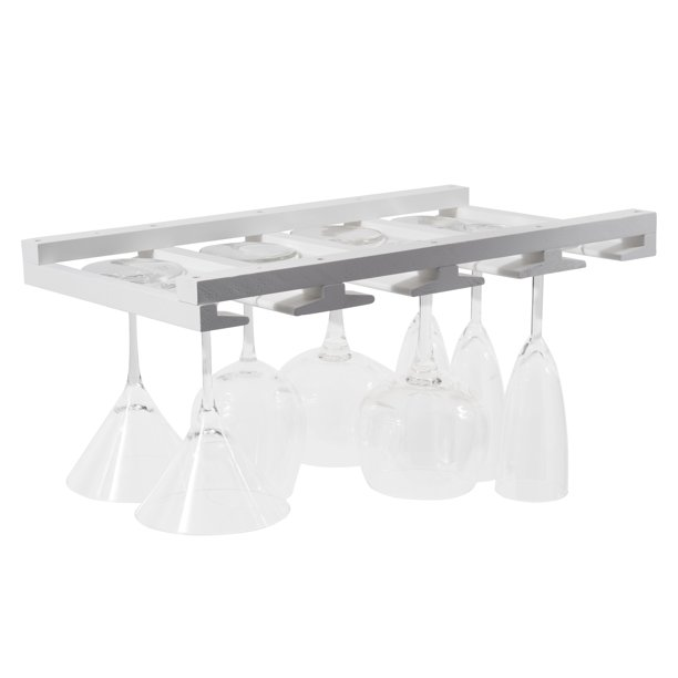 Hanging Bar Glass Rack White, Under Cabinet Wine Glass Holder Wood