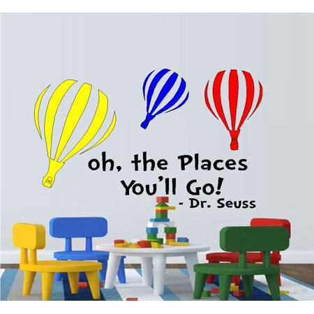 Decal ~ Oh The Places You'll go ~ Colored Balloons:  WALL  DECAL, Dr. Seuss Theme HOME DECOR 13