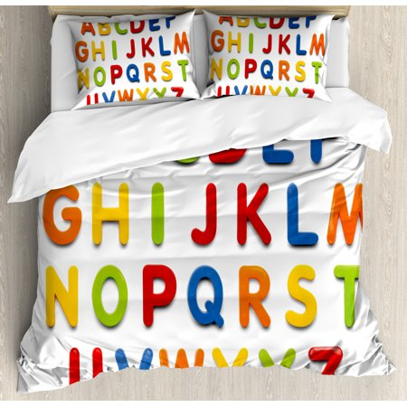 Letter Writing Set - Letters Queen Size Duvet Cover Set, Multicolored Collection of Alphabet Letters Education Image Capital Symbols Writing, Decorative 3 Piece Bedding Set with 2 Pillow Shams, Multicolor, by Ambesonne