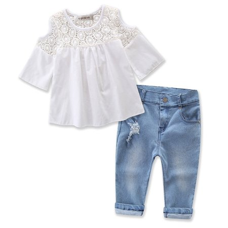 Cute Kid Clothing Stores (stylesilove Sweet Girl Lace Design Off Shoulder 3/4 Sleeve Blouses and Jeans 2 Pcs Outfit Set)