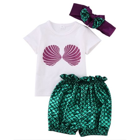0-24M Newborn Baby Kids Girls Mermaid Tops+Pants Headband 3pcs Swimwear Outfits](Little Mermaid Outfits)