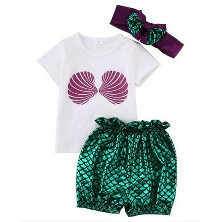 0-24M Newborn Baby Kids Girls Mermaid Tops+Pants Headband 3pcs Swimwear Outfits (Little Mermaid Outfit)