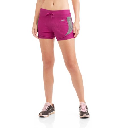 Avia Womens Active Flyaway Running Shorts With Built In Compression Layer