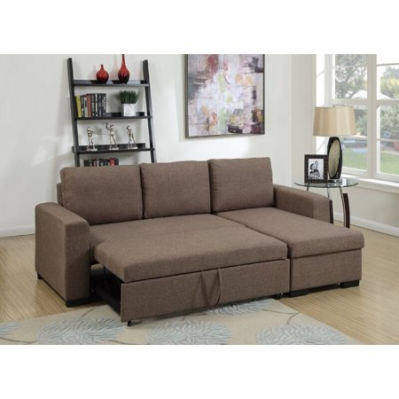 Simple Relax Modern 2 PCS Sectional Sofa Pull-Out Bed Under-Seat Storage  Coffee Polyfiber