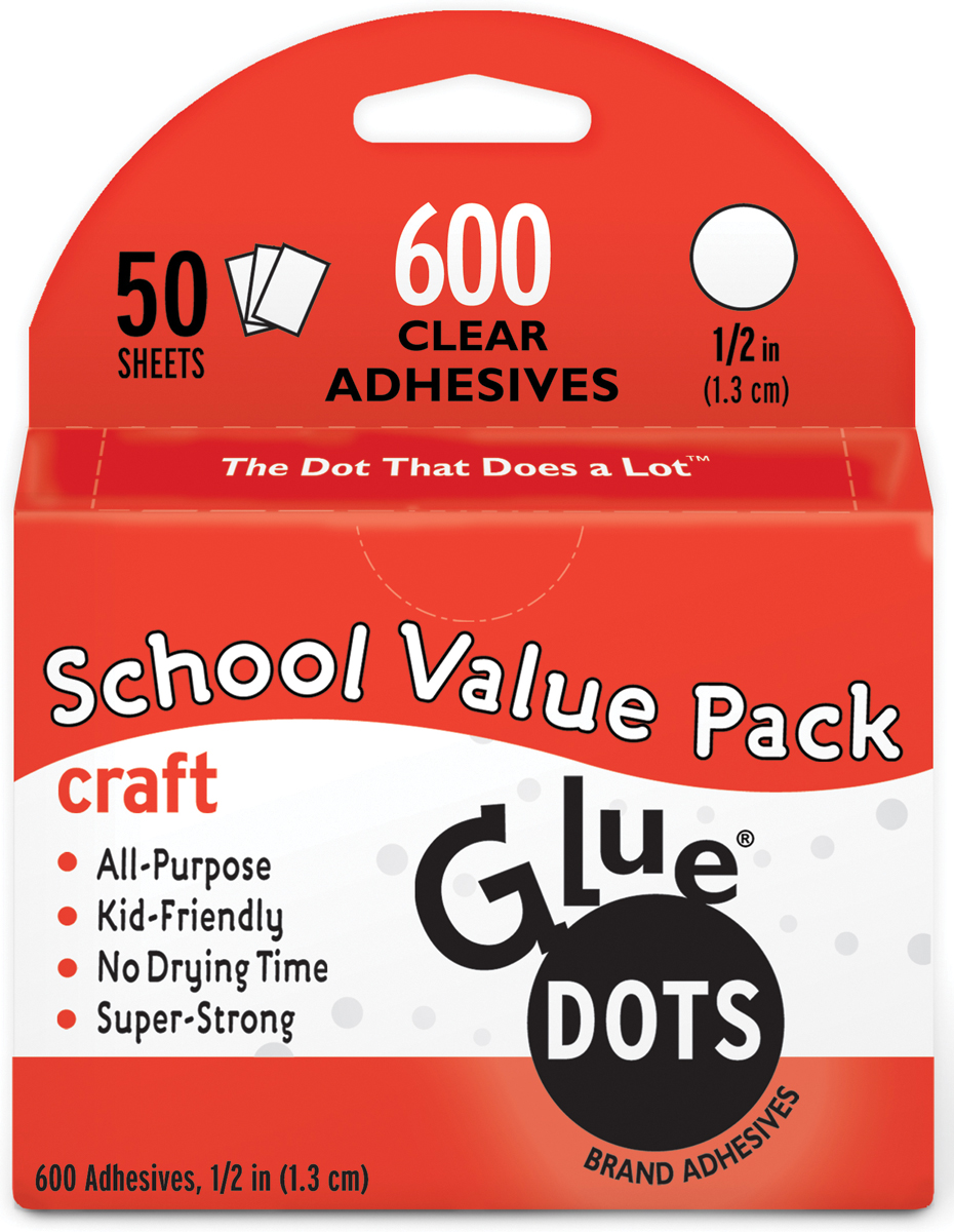 "Glue Dots .5"" Craft Dot Sheets Value Pack-600 Clear Dots"
