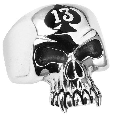 Stainless Steel Lucky 13 skull Ring (Available in Sizes 10 to - Plastic Skull Rings