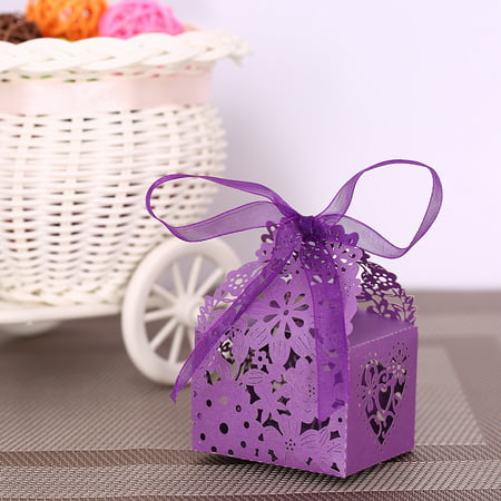 20PCS Delicate Carved Flower Elegant Candy Boxes with Ribbon for Party Birthday Wedding Banquet Kindergarten Bridal Shower--Purple - Halloween Party Ideas For Kindergarten Classes