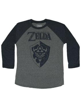 591cc5be Product Image Legend of Zelda 3/4 Sleeve Mens T-Shirt - Blue Print Shield  Under
