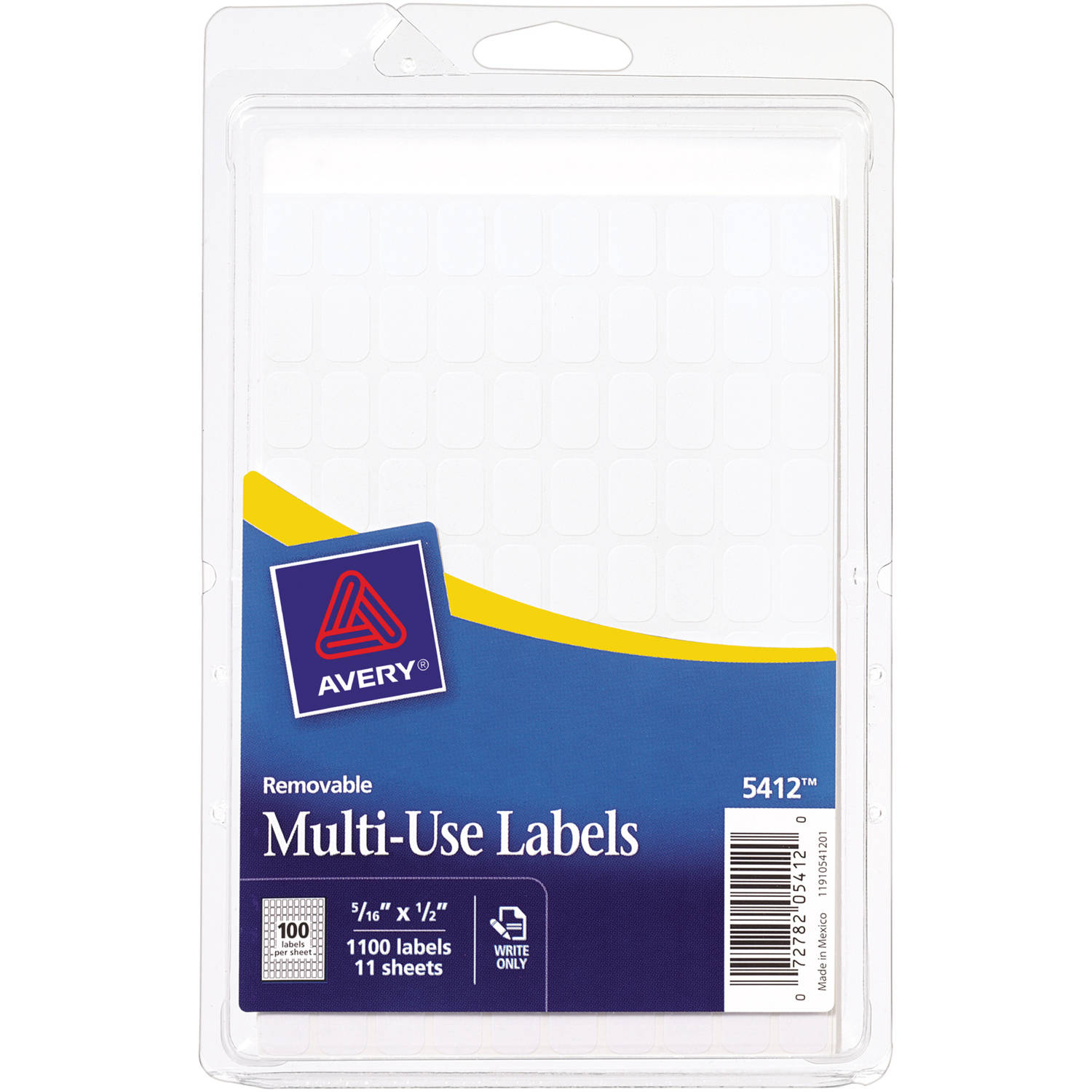 """Avery White Removable Rectangular Labels 5412, 5/16"""" x 1/2"""", Pack of 1000"""