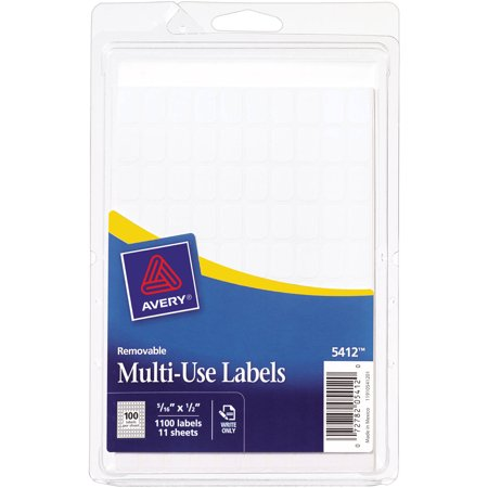 "Avery White Removable Rectangular Labels 5412, 5/16"" x 1/2"", Pack of 1000"