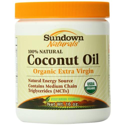 Sundown Naturals Organic Extra Vigin Coconut Oil 16 oz (Pack of 3)