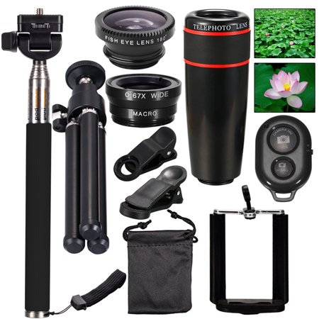 Spring Travel Outdoor Best Gift, 10 in 1 Phone Camera Lens Fisheye + Wide Angle + Macro + Telephoto Lens Kit for iPhone XS Max/XS/XR/X, 8 Plus/8, 7