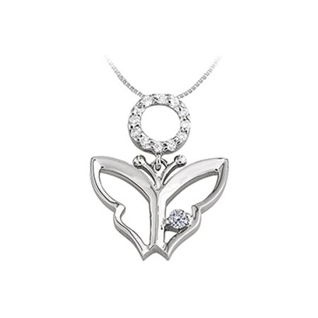 Butterfly Pendant Necklace with Cubic Zirconia in Sterling Silver 0.15 CT TGW - image 1 of 2