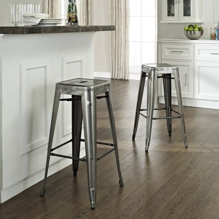 Crosley Furniture Amelia Metal Cafe Barstool in Galvanized, 2pk Cafe Aluminum Bar Stool