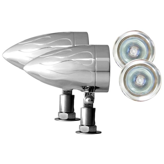 "Adjure NS15014-C BEACON-1 BULLET LIGHTS (1 3/8"" DIAMETER) CLEAR LENS HALOGEN- FLAMED HOUSING UNIVERSAL MOUNT 50W"