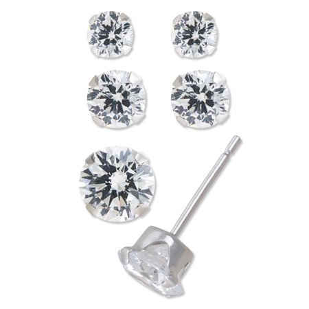 10kt White Gold 3 4 5mm Cubic Zirconia Stud Earrings Set Of