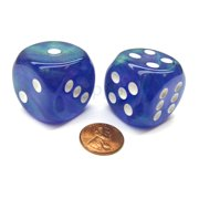 Chessex Borealis 30mm Large D6 Dice, 2 Pieces - Purple with White Pips #DB3007