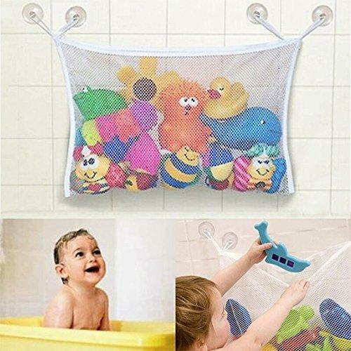 Click here to buy Baby Toddler Bathtub Toys Organizer New Design 4 Suction Cups + 2 Extra Strong Suction....
