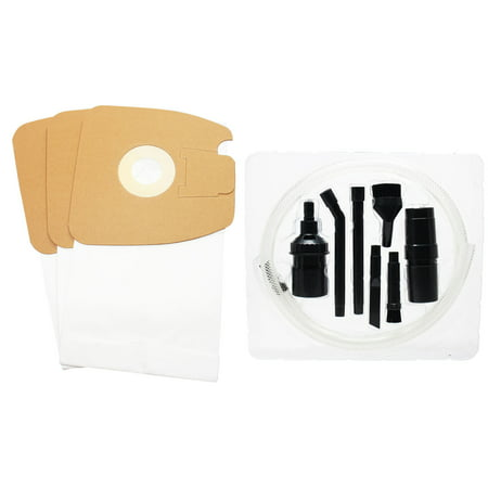 3 Replacement Eureka Mighty Mite 3670G Vacuum Bags with 7-Piece Micro Vacuum Attachment Kit - Compatible Eureka Style MM Vacuum Bags 7 Micro Vacuum Bag