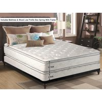 """WAYTON, 12-Inch medium plush Double sided Pillowtop Innerspring Mattress And 4-Inch Wood Traditional Box Spring/Foundation Set With Frame, No Assembly Required, Good For The Back, Twin Size 74"""" x 38"""""""