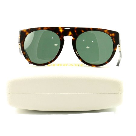 Versace Sunglasses VE4333 108 Havana Acetate Round Greca Men Lens