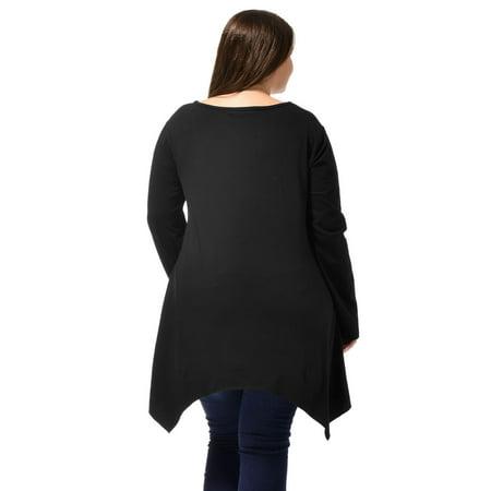 Ladies Long Sleeve Asymmetric Hem Skull Print Plus Size Blouse T-Shirt Black 2X - image 2 of 6