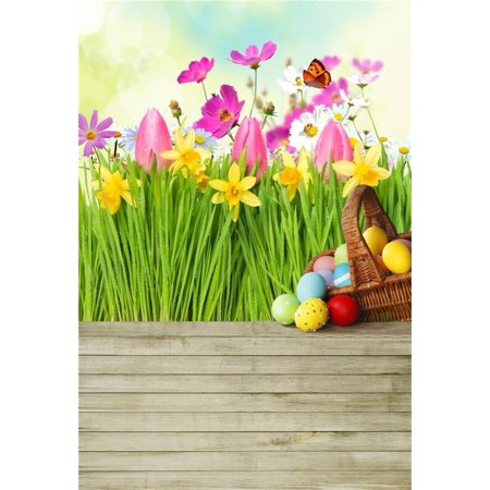 HelloDecor Polyster 5x7ft Easter Eggs Background Spring Meadow Flowers Photography Backdrop Wooden Board Baby Newborn Child Kid Portrait Photoshoot Studio Props Video Drape