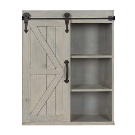 Kate And Laurel Cates Wood Wall Storage Cabinet With Sliding Barn Door Rustic Gray