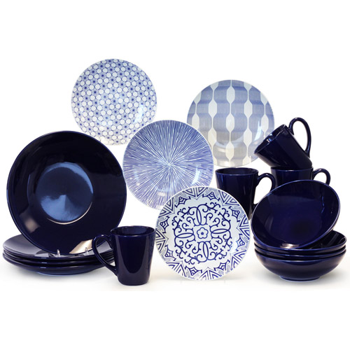 Cobalt/White 16-Piece Dinnerware Set