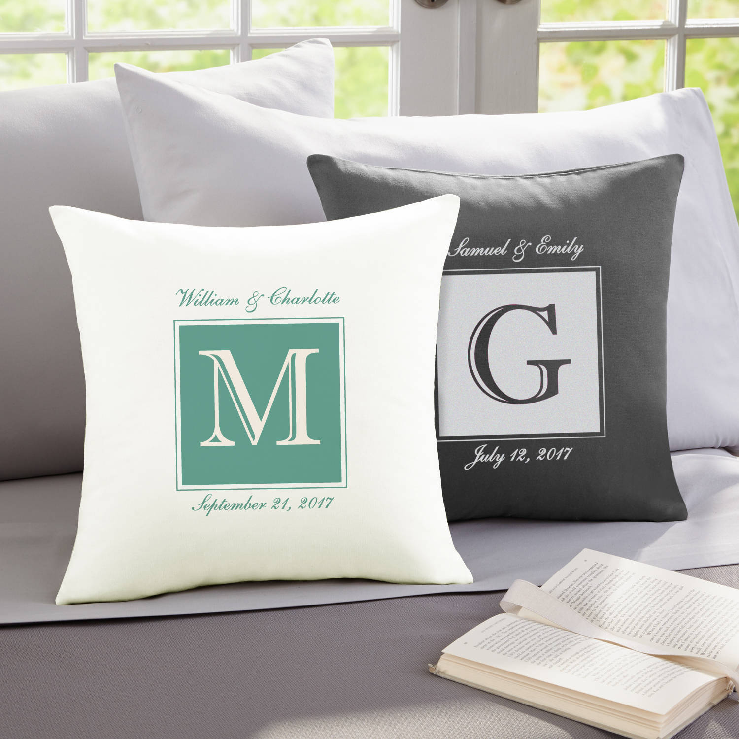 Personalized Initially Ours Throw Pillow, Available in Gray or Tan