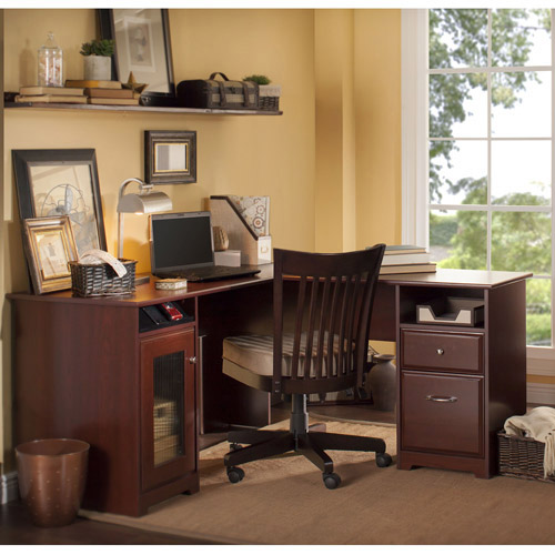Bush Furniture Cabot Collection 60u0026quot; L Desk, Harvest Cherry