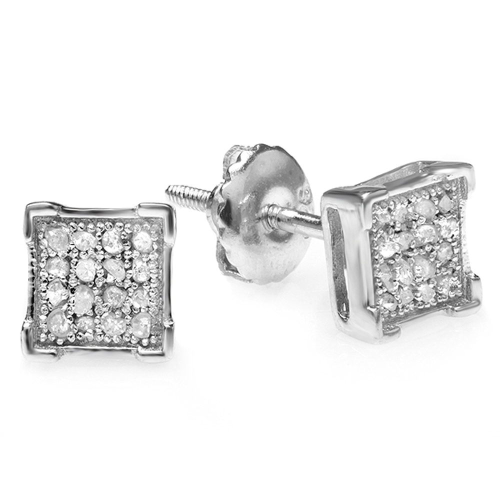 0.06 Carat (ctw) Sterling Silver White Diamond V Prong Square Mens Hip Hop Iced Stud Earrings