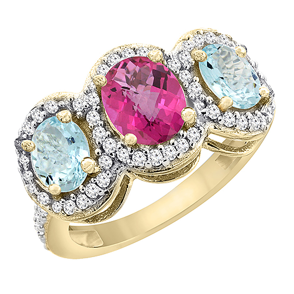 14K Yellow Gold Natural Pink Topaz & Aquamarine 3-Stone Ring Oval Diamond Accent, size 8 by Gabriella Gold
