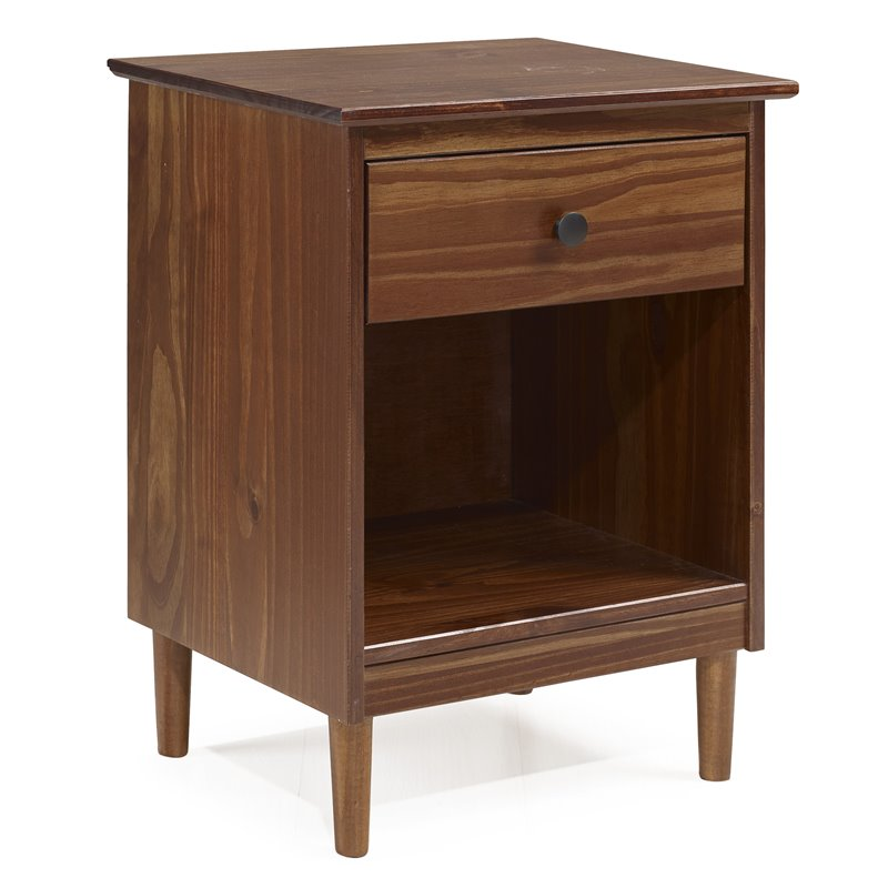 1 Drawer Solid Wood Nightstand in Walnut