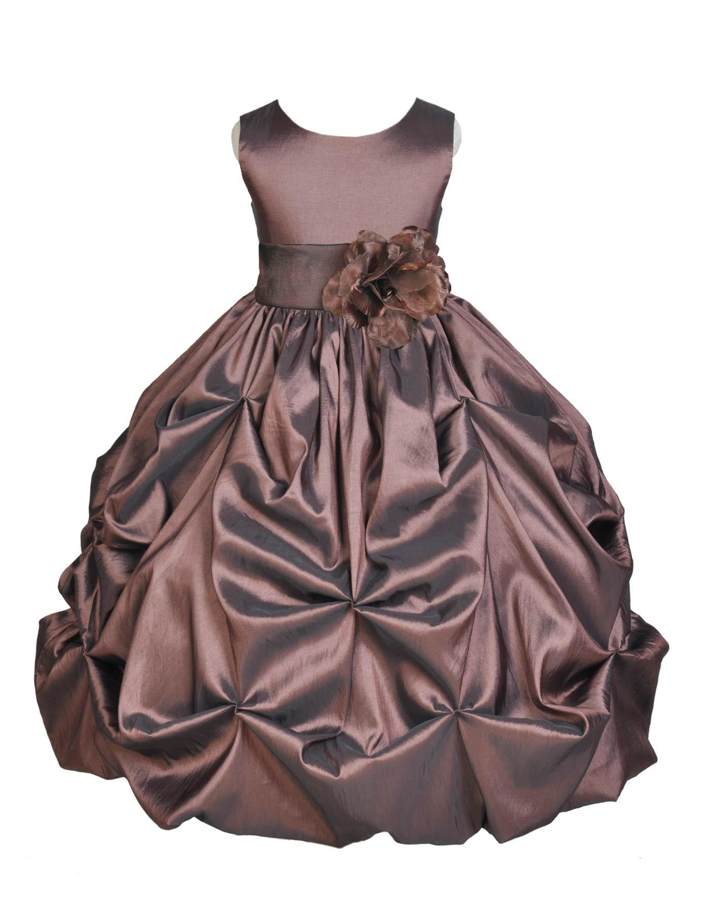 Ekidsbridal Taffeta Bubble Pick-up Brown Flower Girl Dress Weddings Summer Easter Dress Special Occasions Pageant Toddler Birthday Party Holiday Bridal Baptism Junior Bridesmaid First Communion 301S