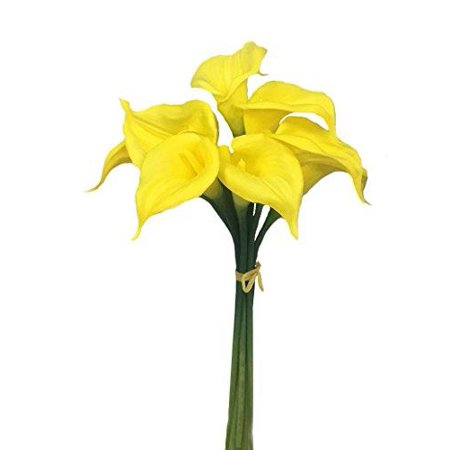 - 9 Blooming Large Calla Lily With Long Stem Beautiful Keepsake Artificial Flower (YELLOW)