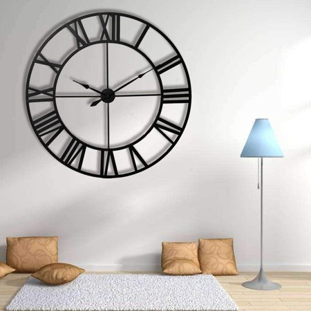 Decorative Wall Clock, Oversized 3D Vintage Metal Clock with Roman Numerals Large Dial Non-Ticking Home Kitchen Living Room Restaurant Cafe Bar Decoration 60CM(Black)
