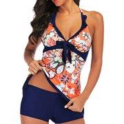 Swimdress+Shorts for Women M-XXL Plus Size V-neck Tankini Set Two-Piece Swimsuit Halterneck Backless Padded Push-up Bra Print bowknot Swimming Bathing Suit Beachwear