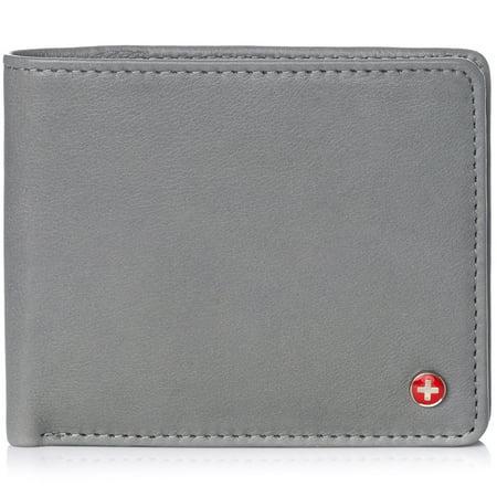 Alpine Swiss RFID Mens Wallet Deluxe Capacity Passcase Bifold Two Bill -
