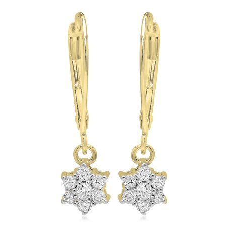Dangling Drop Diamond Earrings - Dazzlingrock Collection 0.30 Carat (ctw) 14K Round Diamond Ladies Cluster Flower Dangling Drop Earrings 1/3 CT, Yellow Gold
