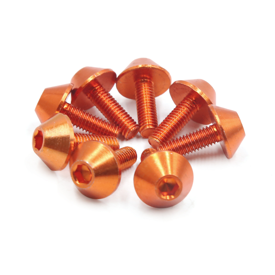 8pcs Orange Aluminum Alloy Motorcycle Car Hex Socket Bolts Screws M6 x 18