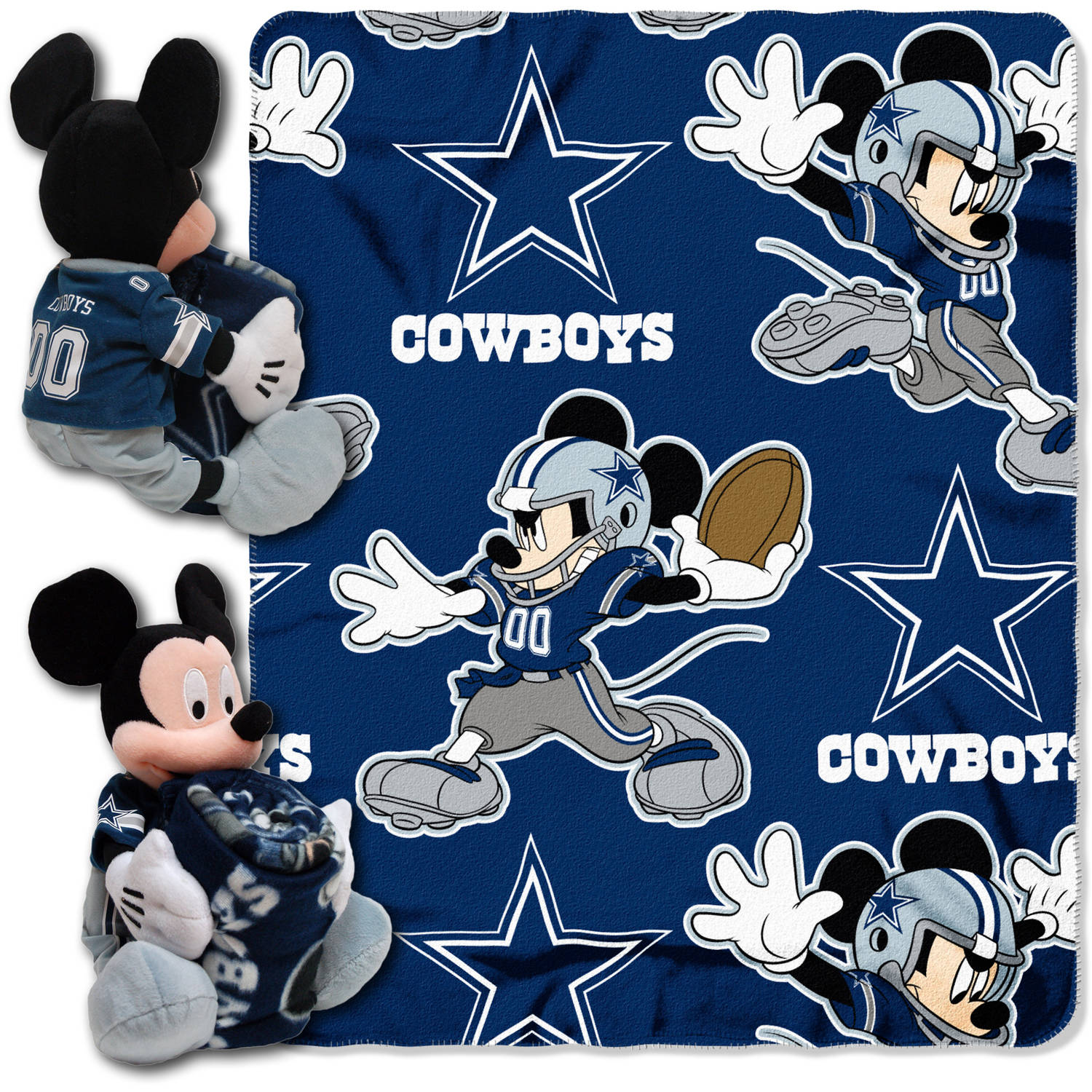 "Disney NFL Dallas Cowboys Hugger Pillow and 40"" x 50"" Throw Set"