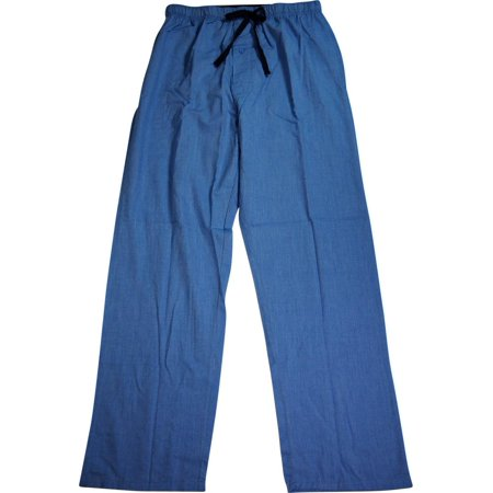Hanes Mens Woven Plaid Drawstring Sleep Pajama Lounge Pant, 40162 Medium Blue / Medium