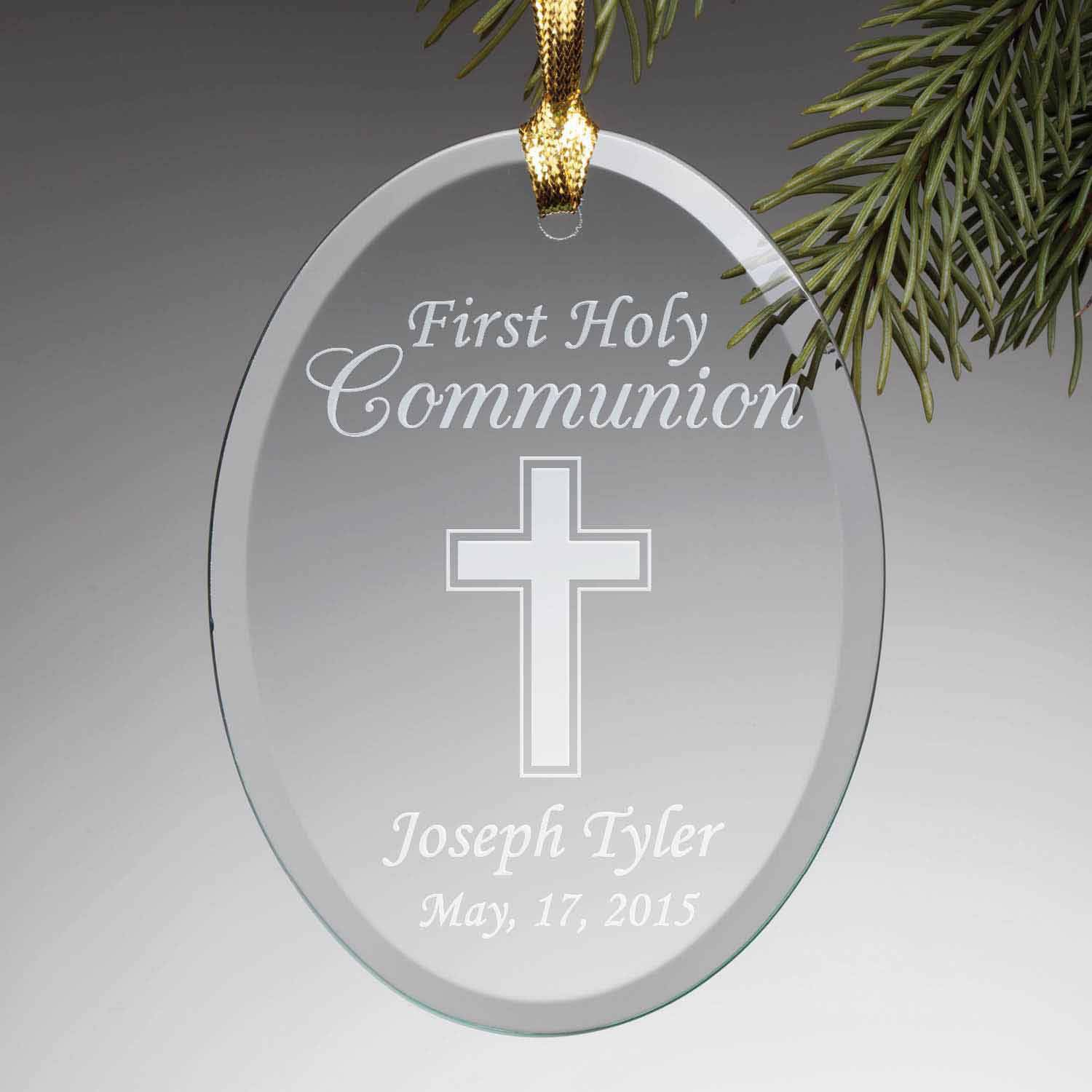 Personalized First Communion Glass Ornament