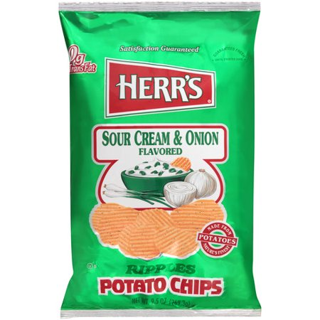 herr 39 s sour cream onion flavored ripples potato chips 9 5 oz. Black Bedroom Furniture Sets. Home Design Ideas