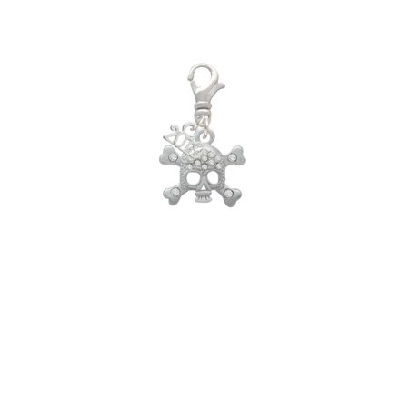 Silvertone Skull with Clear Crystals - 2019 Clip on Charm - Skull Charms