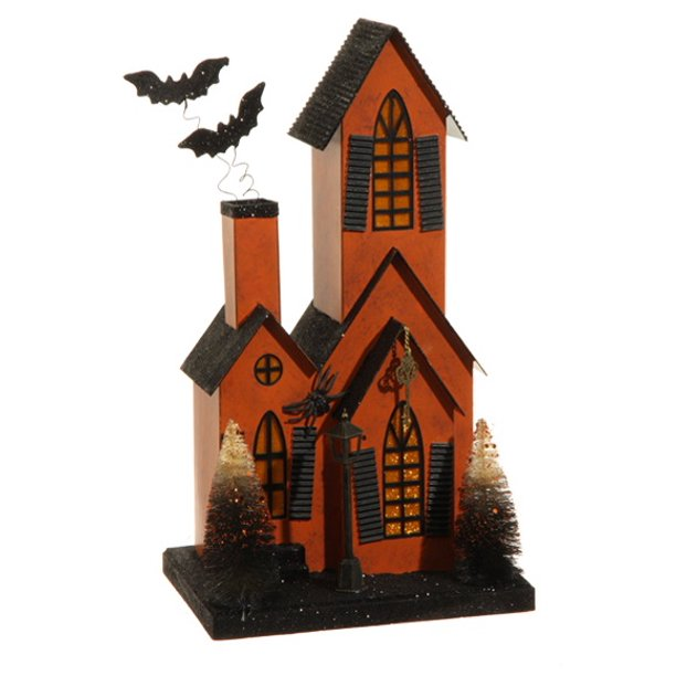"14.25"" LED Lighted Glitter Drenched Halloween Haunted House Table Top Decoration"