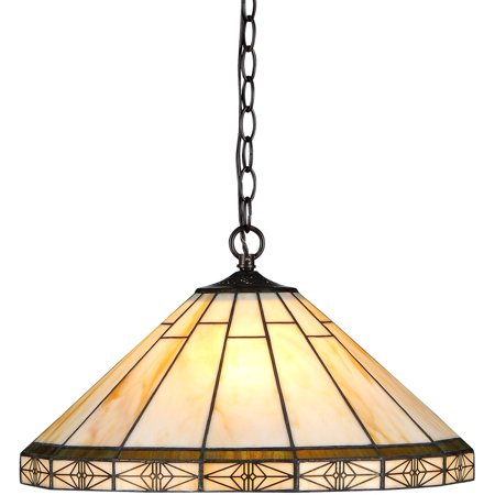 Chloe Lighting Belle Tiffany-Style 2-Light Mission Ceiling Pendent with 18