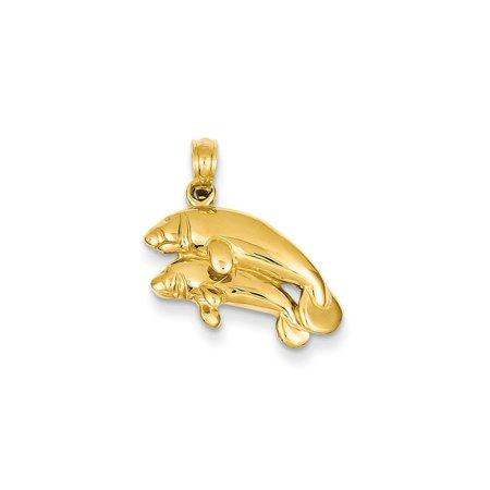 14k Yellow Gold Double Manatee Pendant Charm Necklace Sea Life 14k Manatee Pendant