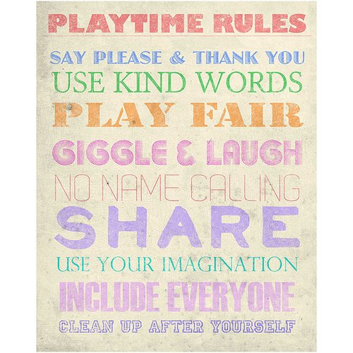 PTM Playtime Rules Textual Art on Wrapped Canvas